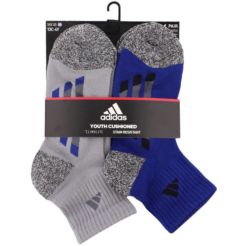 ADIDAS Boys' Climalite Vertical Stripe Quarter-Height Socks, 6-Pack - LT ONIX