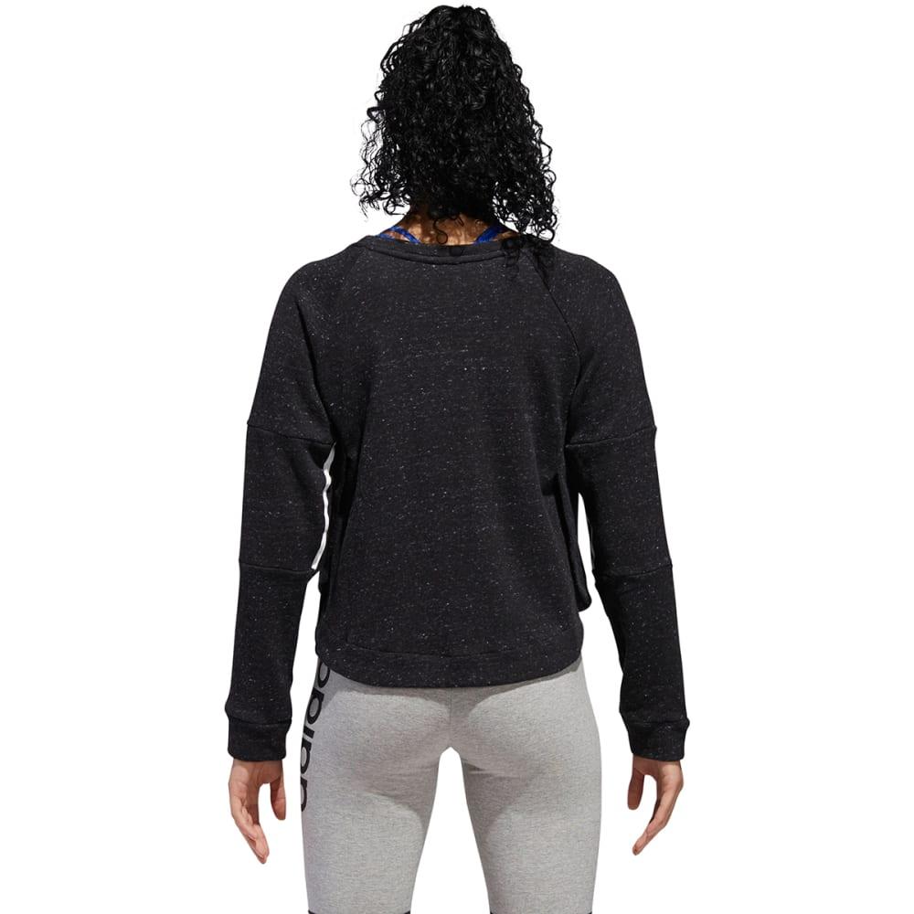 ADIDAS Women's Sport2Street Crew Fleece Pullover - BLKMLNG/WHT-DH8166