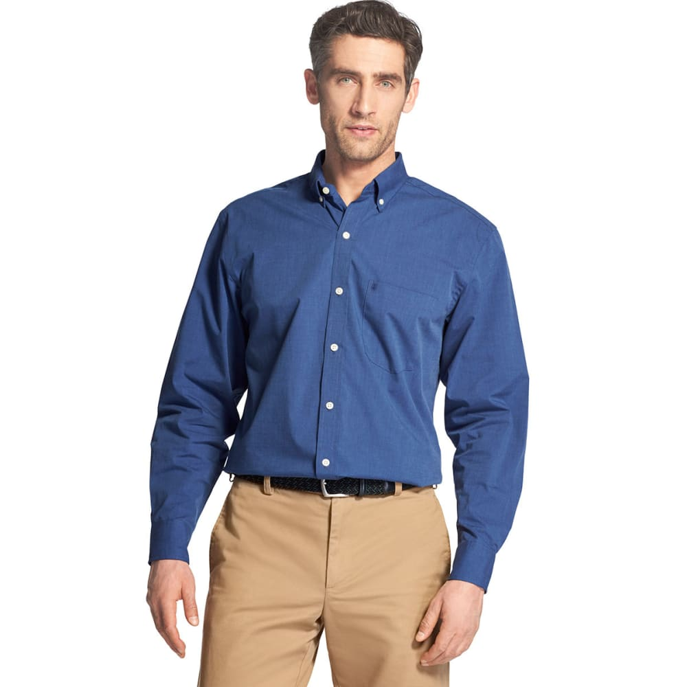 Izod Men's Essential Premium Woven Long-Sleeve Shirt - Blue, M