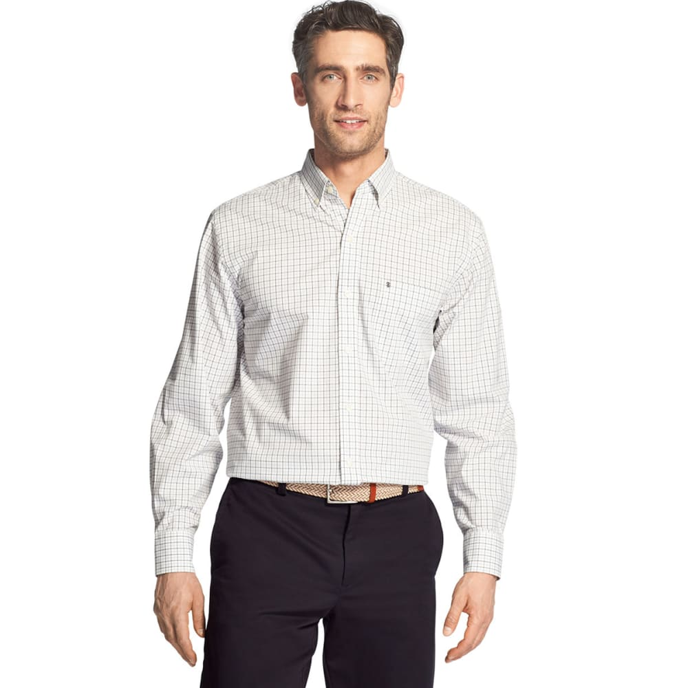 IZOD Men's Essential Premium Woven Long-Sleeve Shirt - BLACK -#001