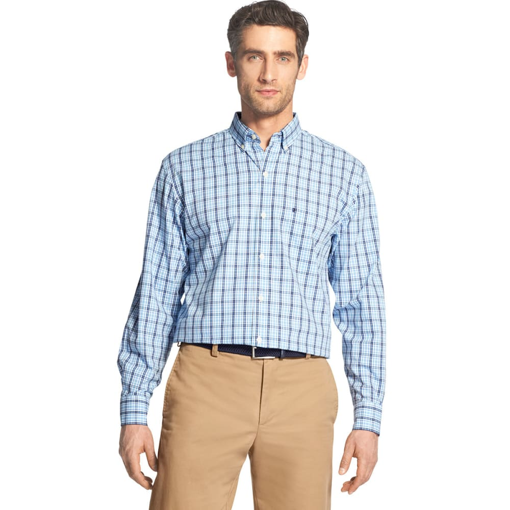 Izod Men's Essential Premium Woven Long-Sleeve Shirt - Blue, L