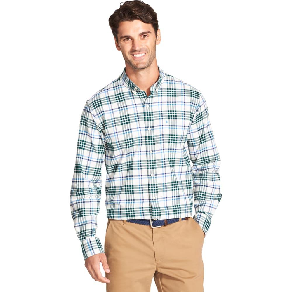 IZOD Men's Oxford Plaid Stretch Woven Long-Sleeve Shirt - V-ICE/BOTAN GAR-#168