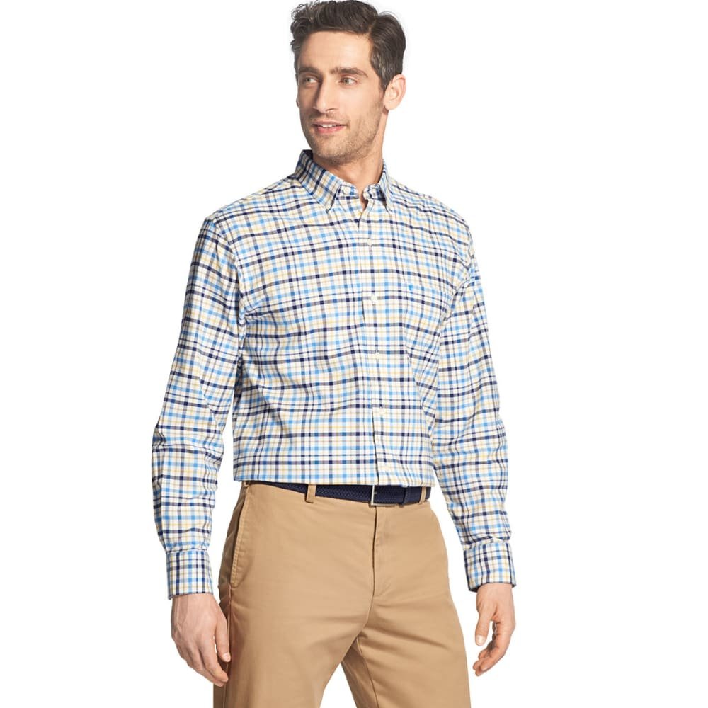 Izod Men's Oxford Plaid Stretch Woven Long-Sleeve Shirt - Blue, M