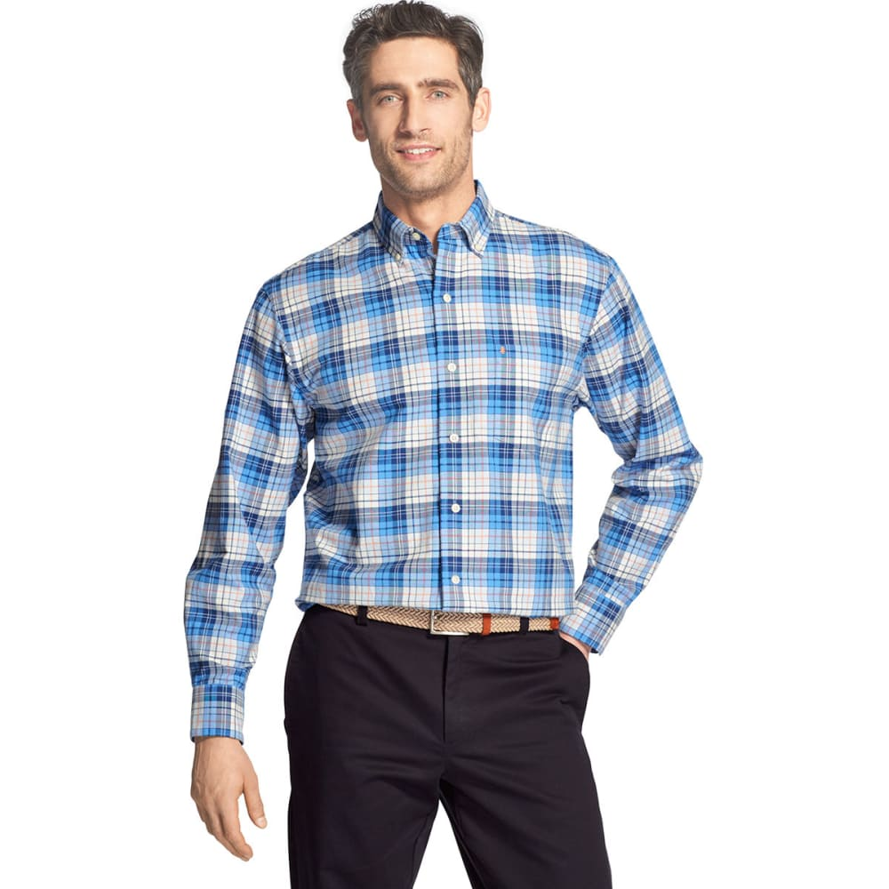 IZOD Men's Oxford Plaid Stretch Woven Long-Sleeve Shirt - BLUE REVIVAL -#464