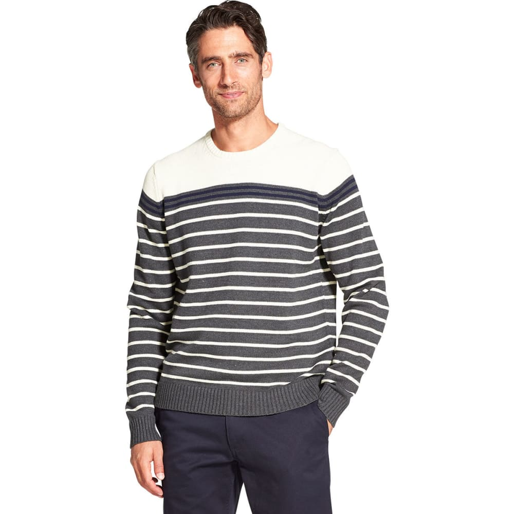 IZOD Men's Newport Striped Crewneck Sweater - ASPHALT -#027