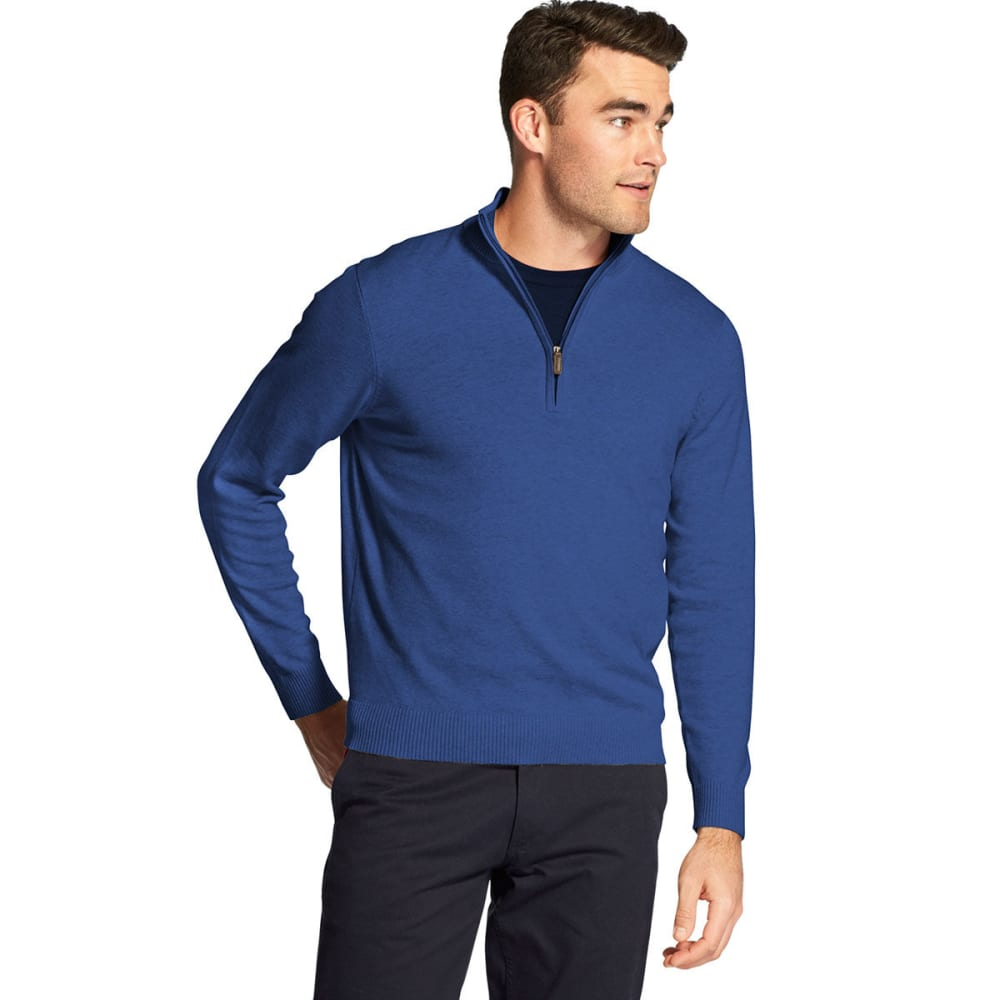 Izod Men's Premium Essentials 1/4 Zip Sweater - Blue, M
