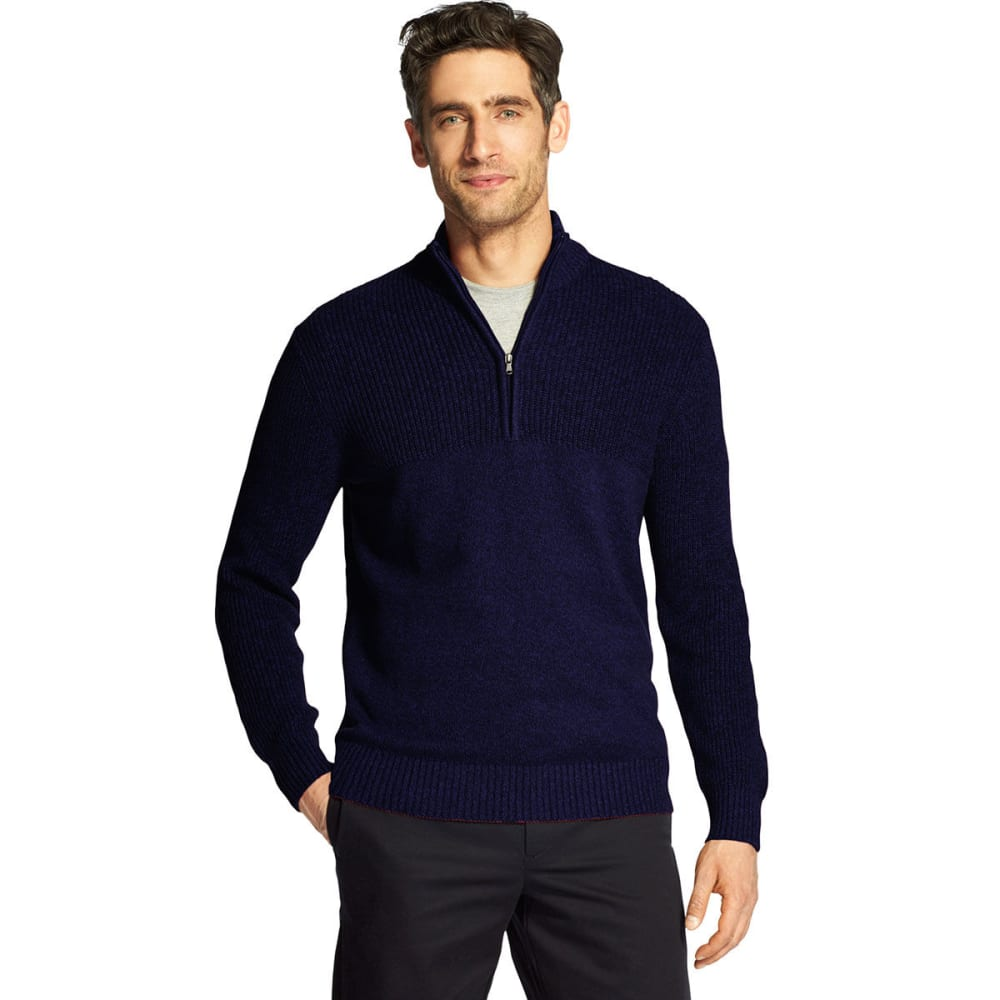 IZOD Men's Newport 1/4 Zip Sweater - PEACOAT -#403