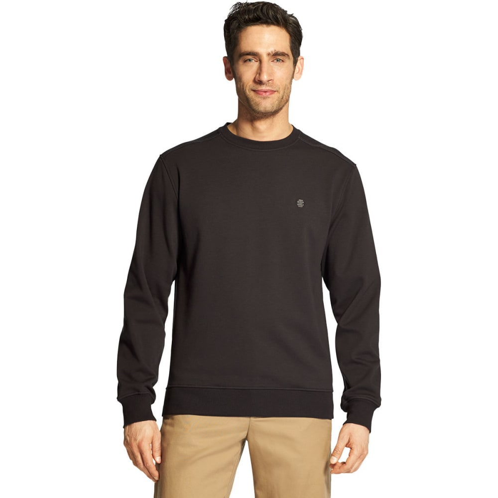 IZOD Men's Advantage Performance Stretch Solid Crew Fleece Pullover - BLACK -#001