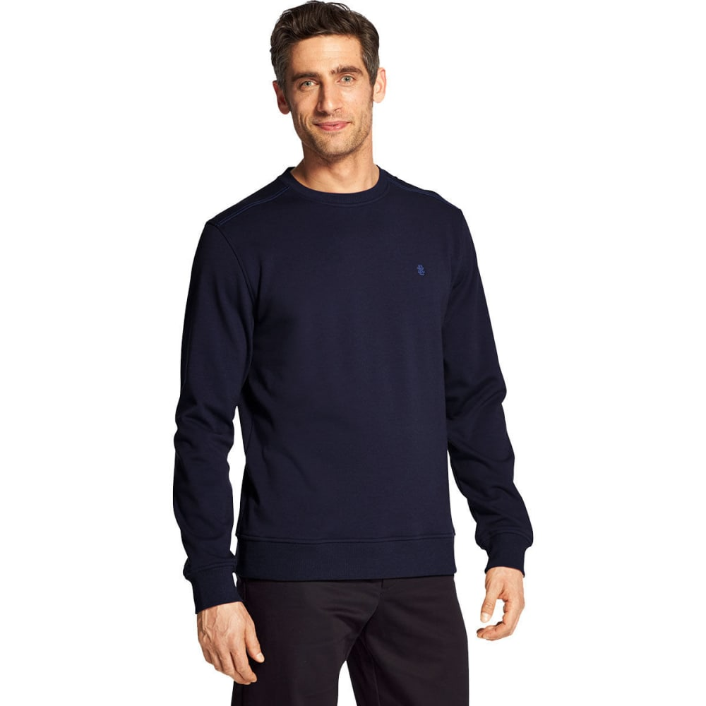 IZOD Men's Advantage Performance Stretch Solid Crew Fleece Pullover - PEACOAT -#403