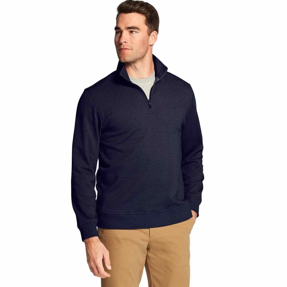 IZOD Men's Advantage Performance Stretch Quarter Zip Fleece Pullover - PEACOAT -#403