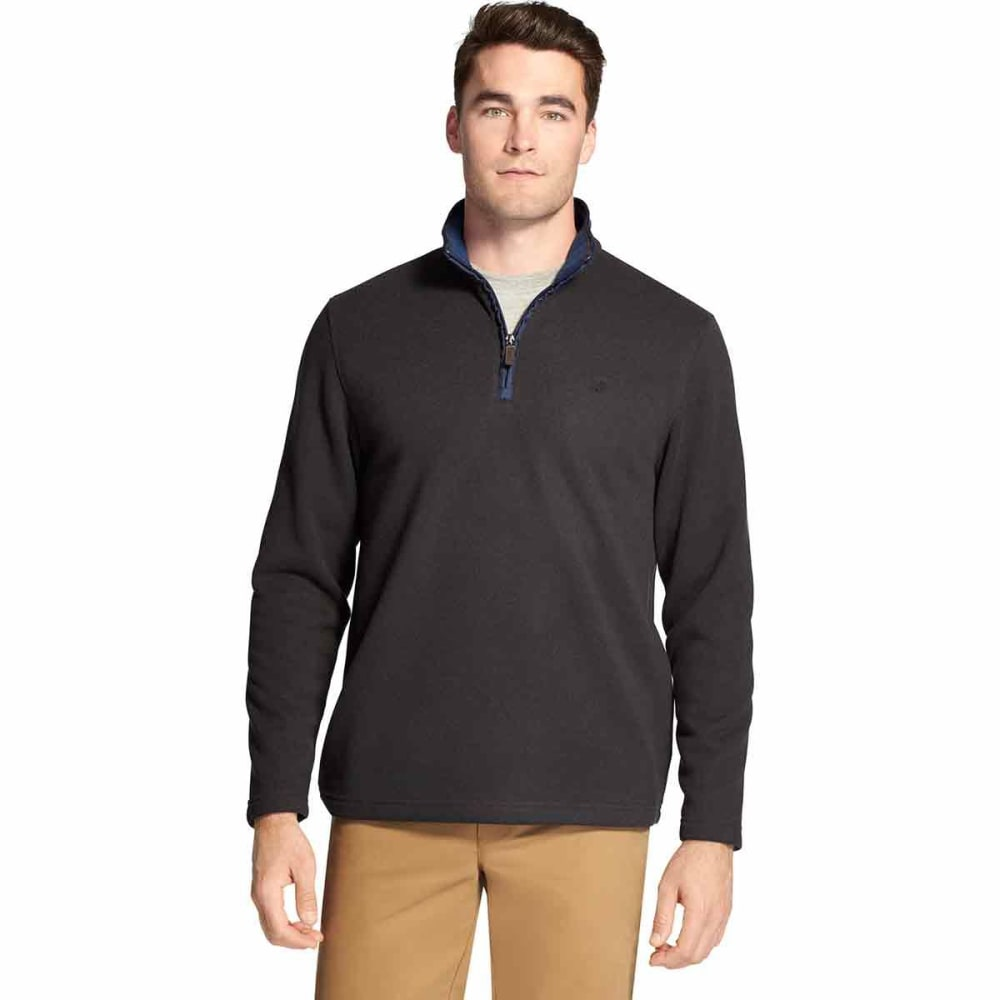 IZOD Men's Spectator Premium Quarter Zip Fleece Pullover - BLACK HTR -#012