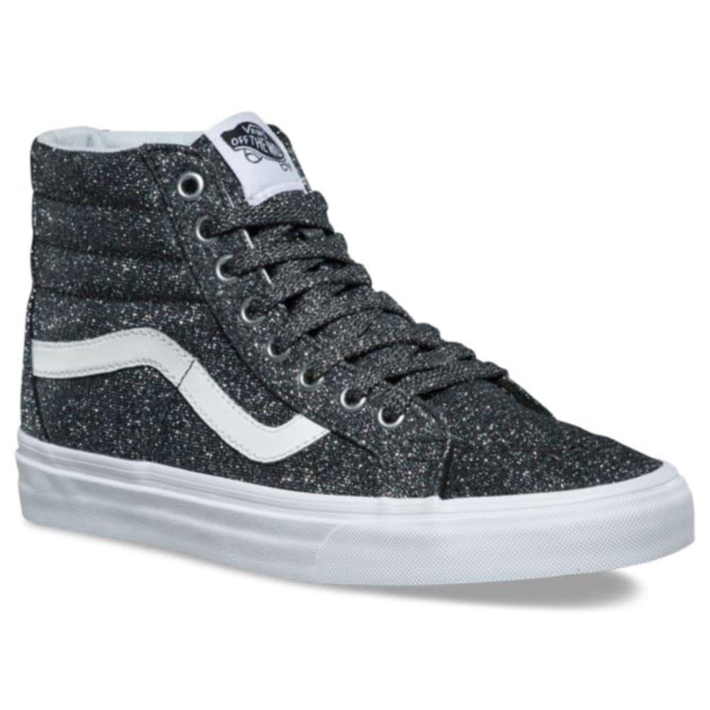 VANS Unisex Lurex Glitter Sk8-Hi Reissue Skate Shoes - BLACK/TRUE WHITE