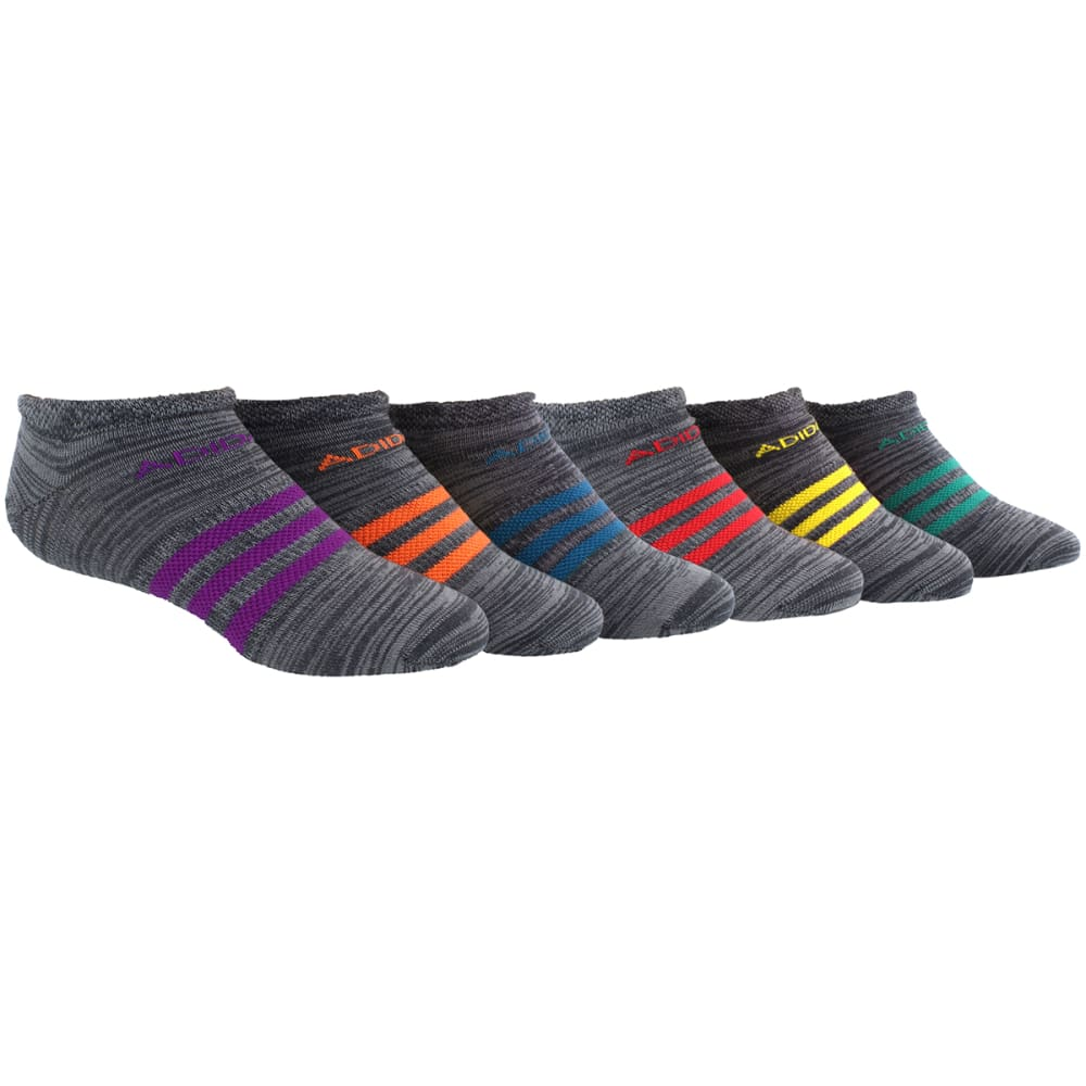 ADIDAS Girls' Climalite Superlite No-Show Socks, 6-Pack - 5140641-ONIX ASST
