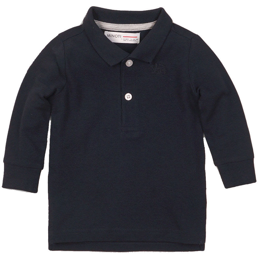 MINOTI Little Boys' Long-Sleeve Polo Shirt - BPOL7 -NAVY