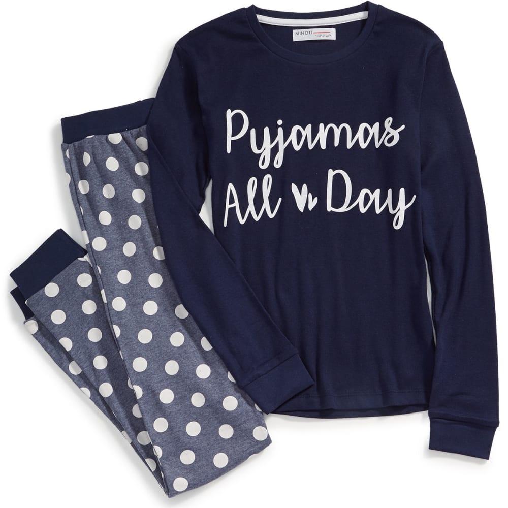 MINOTI Big Girls' 2-Piece Jersey Pajama Set 5-6