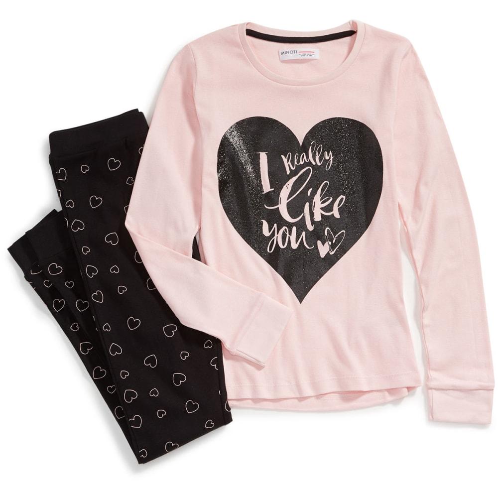 MINOTI Big Girls' 2-Piece Jersey Pajama Set - BLUSH-8