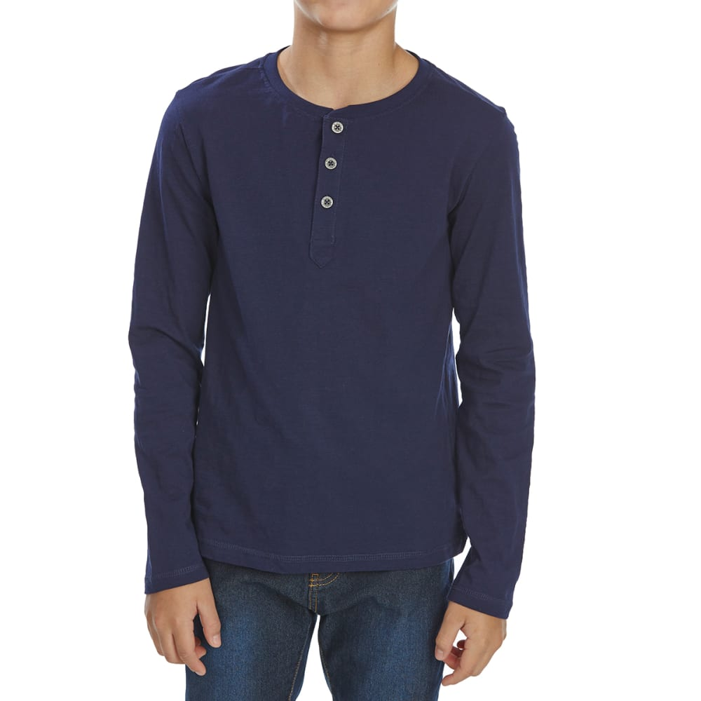MINOTI Little Boys' Slub Long-Sleeve Henley - BHEN6 -NAVY