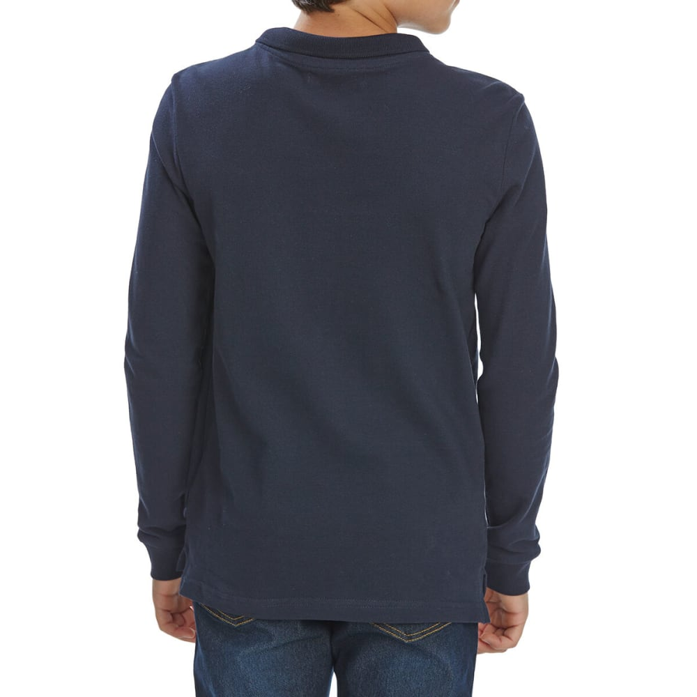 MINOTI Big Boys' Long-Sleeve Polo Shirt - BPOL7 -NAVY