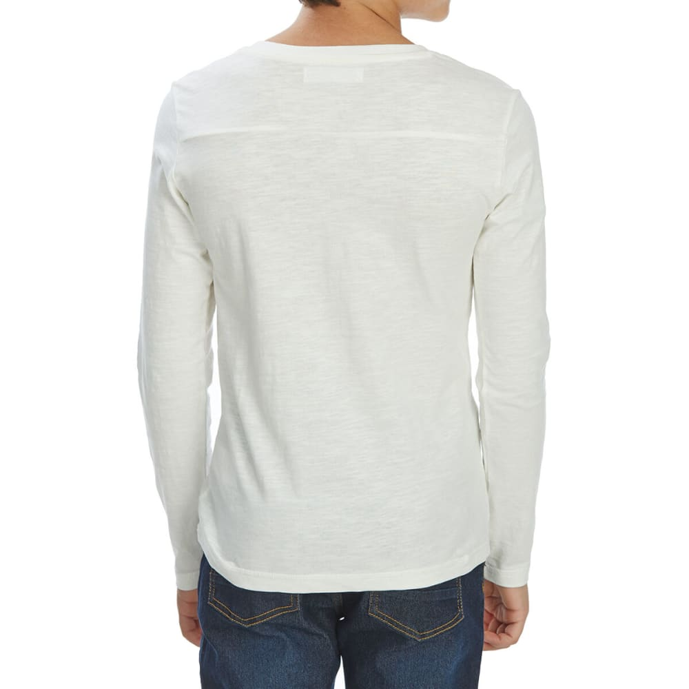 MINOTI Big Boys' Slub Long-Sleeve Henley - BHEN10 -OFF WHITE