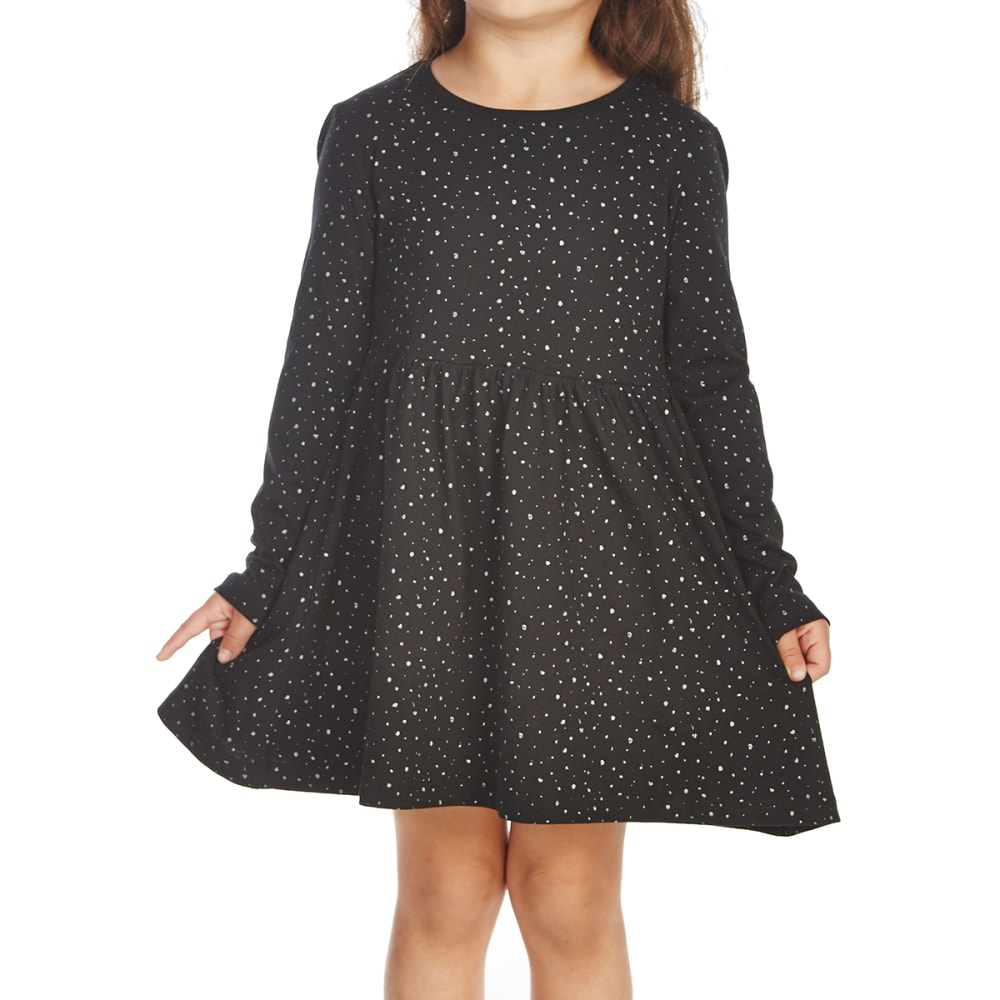 MINOTI Little Girls' Long-Sleeve Dress - GRESS8-BLACKGLITTER