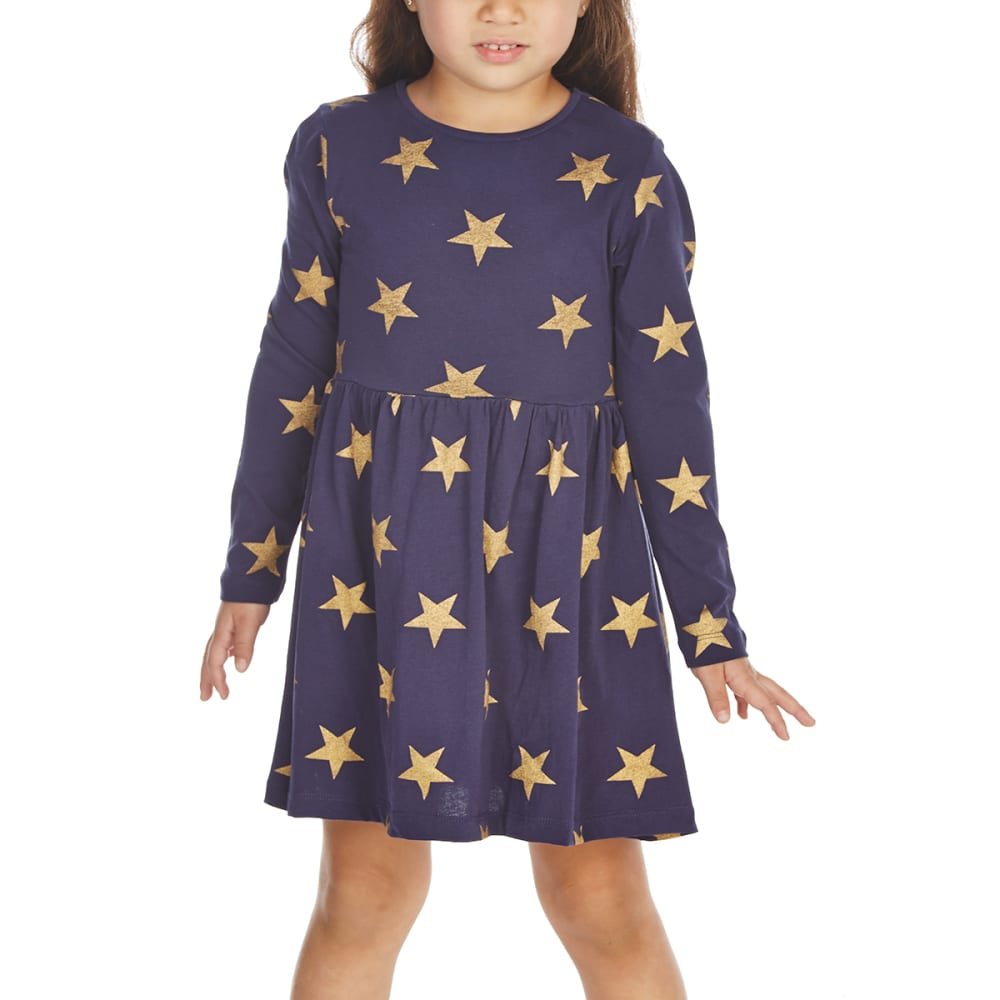 Minoti Little Girls' Long-Sleeve Dress - Blue, 5-6