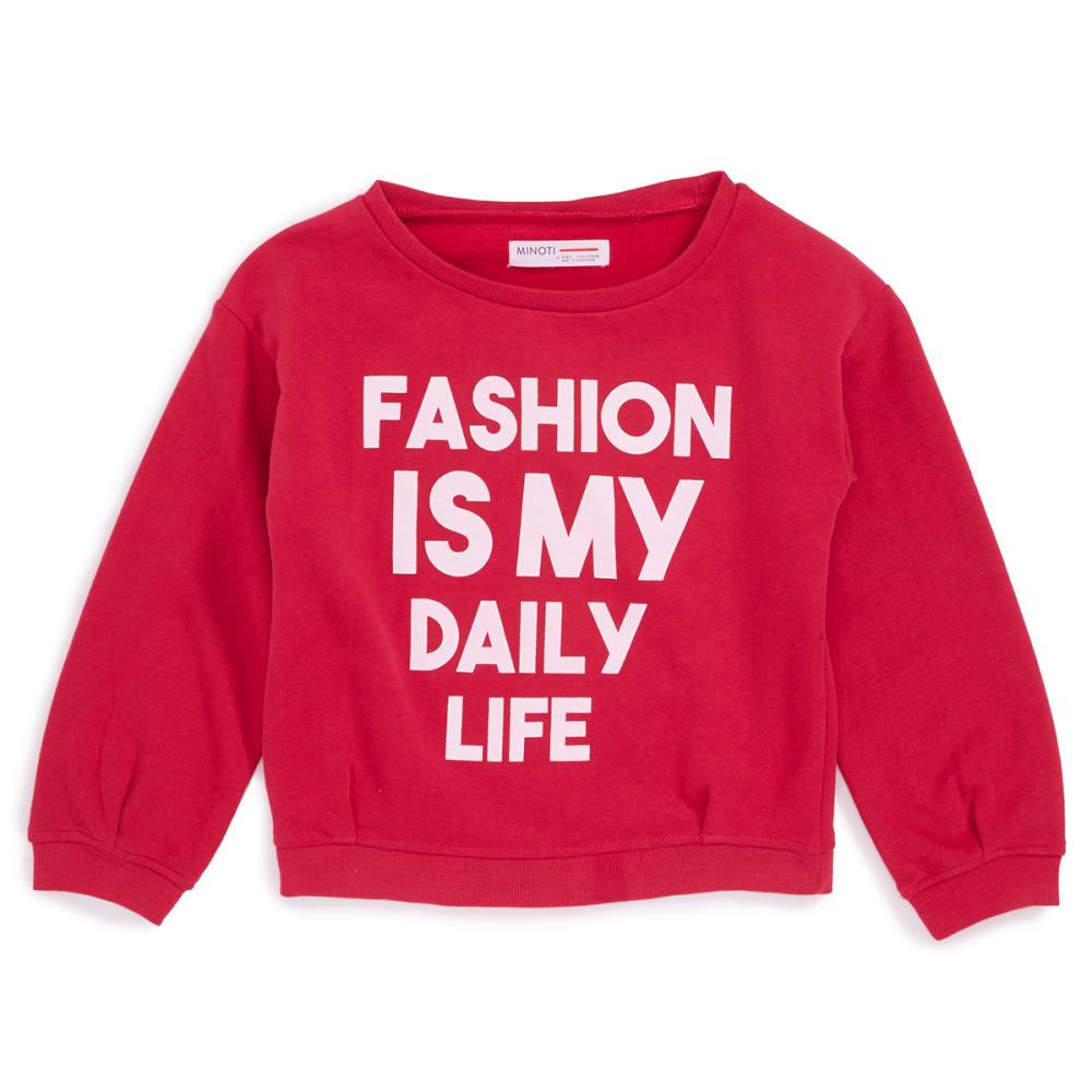 MINOTI Little Girls' Crew Sweatshirt - GCREW6-RED