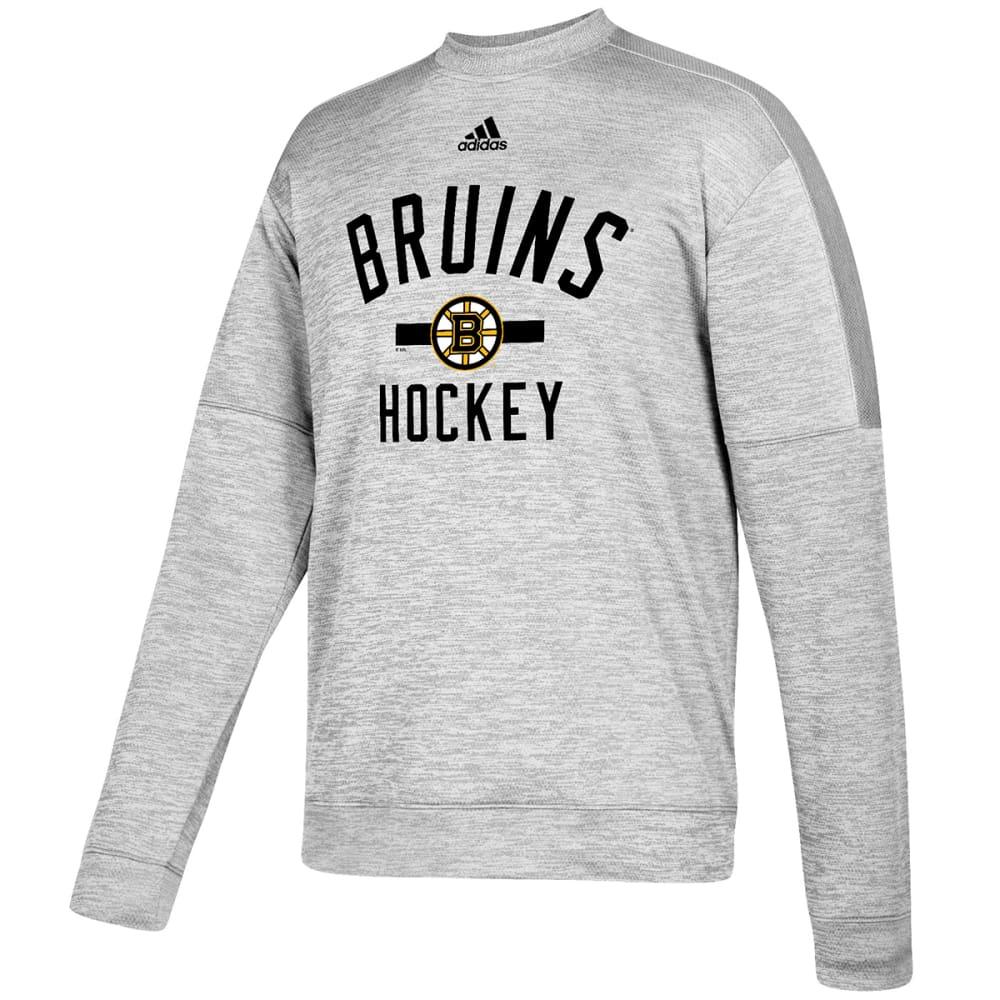 ADIDAS Men's Boston Bruins Team Issue Crewneck Fleece Pullover - GREY
