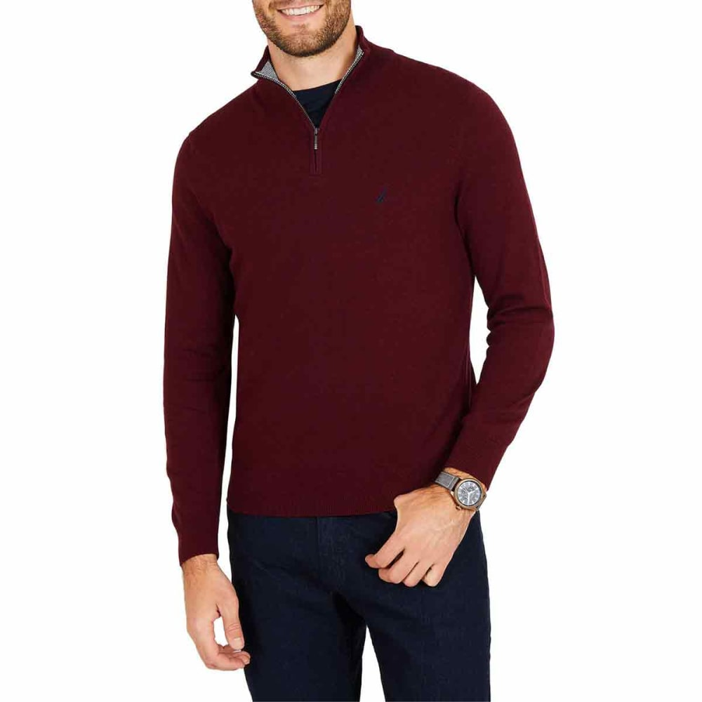 NAUTICA Men's Navtech Quarter-Zip Mock-Neck Sweater - 6GB - ROYAL BURGUNDY
