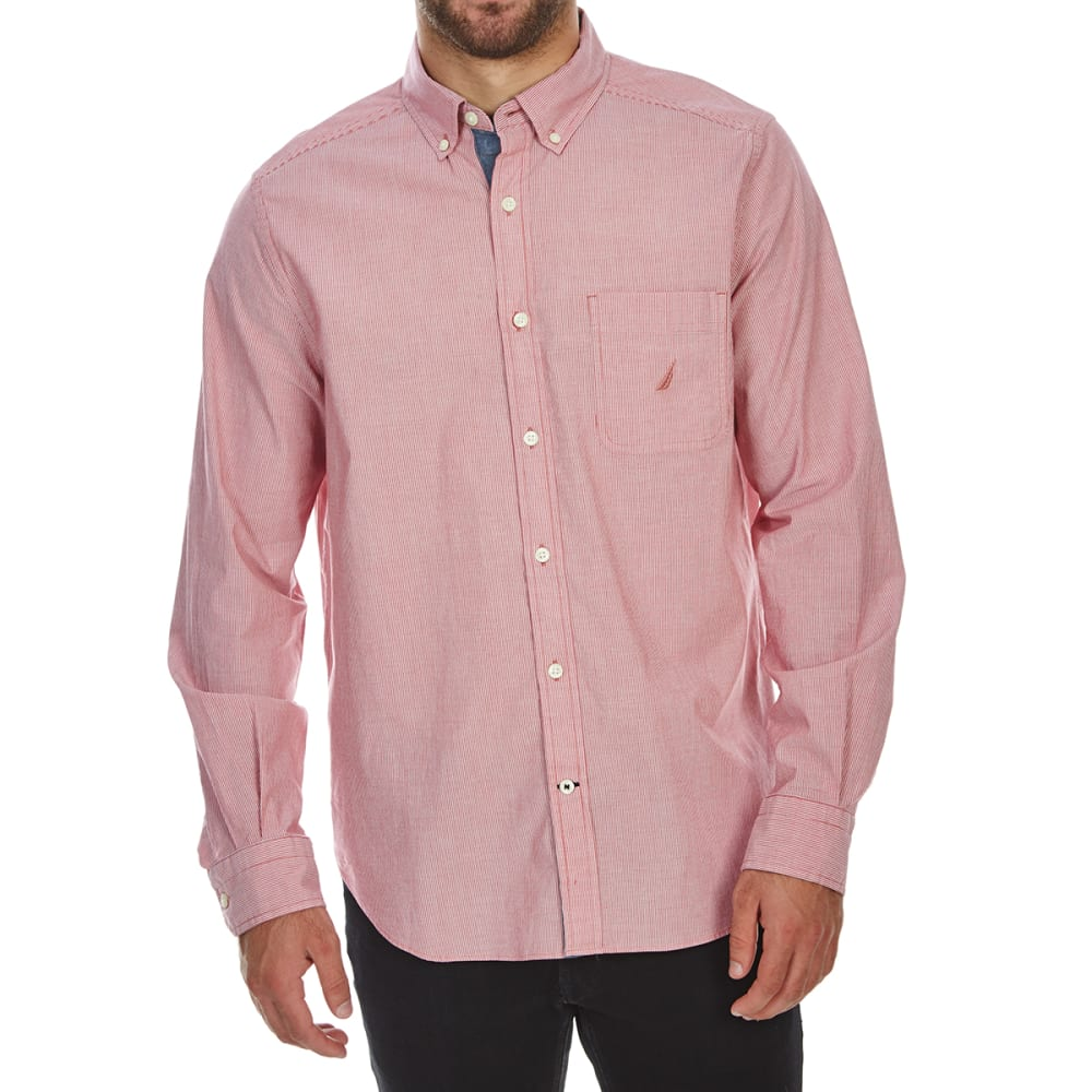 Nautica Men's Stretch Poplin Long-Sleeve Shirt - Red, XXL