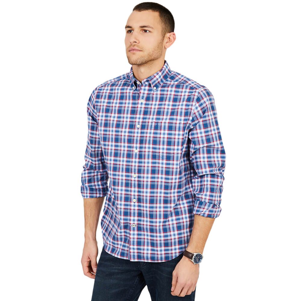 Nautica Men's Classic Fit Plaid Button-Down Long-Sleeve Shirt - Blue, L