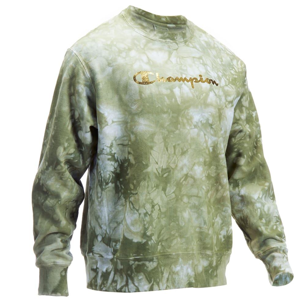 CHAMPION Men's Scrunch Dye Reverse Weave Script Logo Crewneck Pullover L