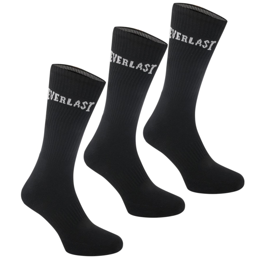 EVERLAST Boys' Crew Socks, 3-Pack 9C- 1Y