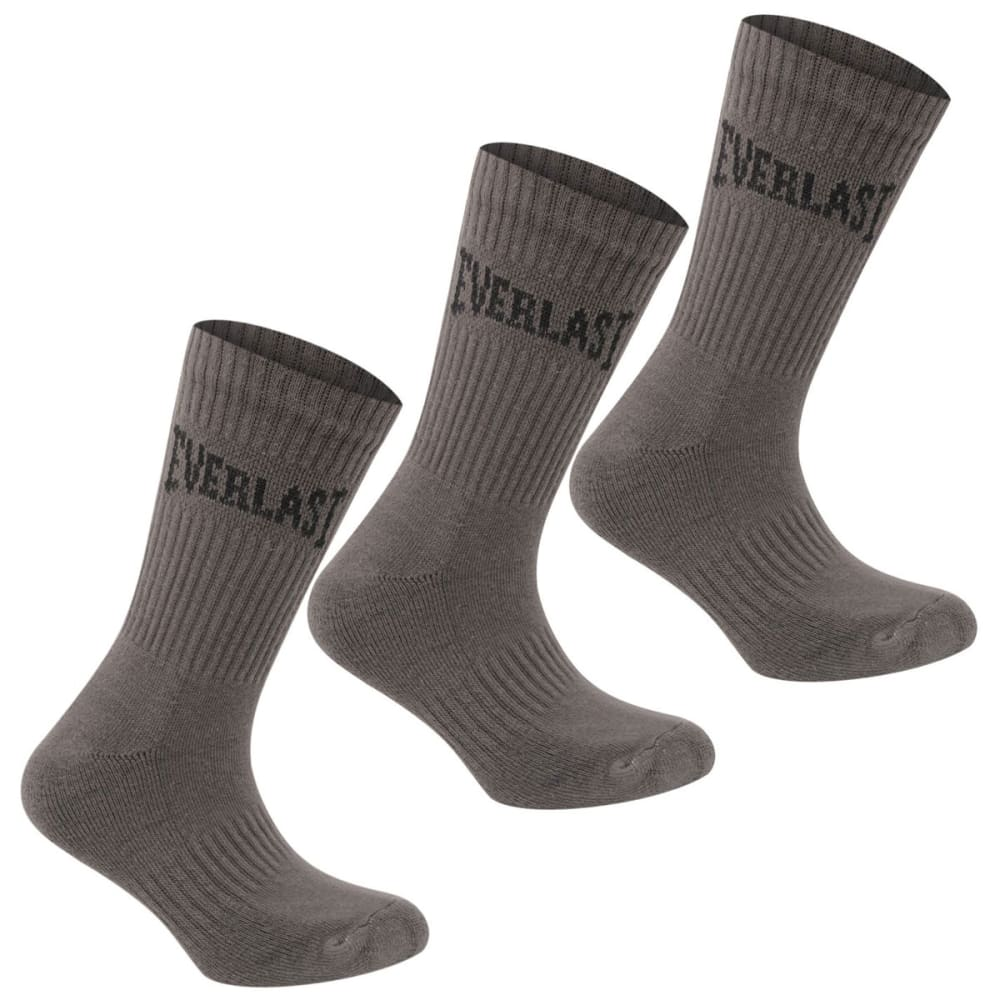 Everlast Boys Crew Socks, 3-Pack - Black, 9C- 1Y