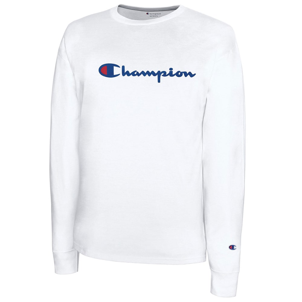 8d84fc659 CHAMPION Men's Classic Jersey Script Logo Long-Sleeve Tee - WHITE