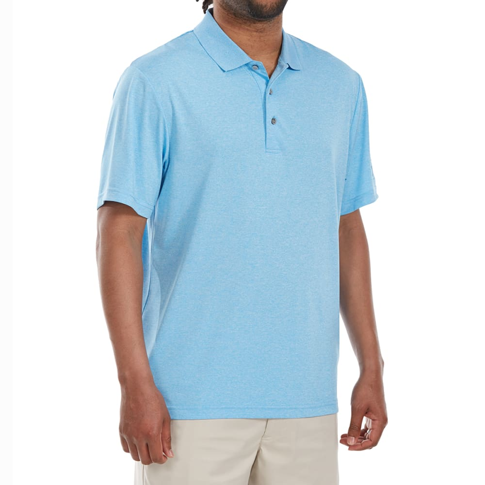 PGA TOUR Men's Heather Stretch Short-Sleeve Polo Shirt - ALASKANBLUEHEATH-490