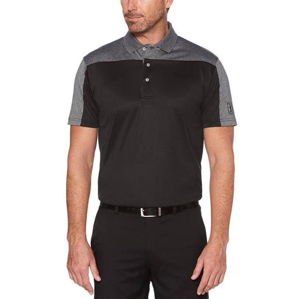 PGA TOUR Men's Easy Care Pieced Short-Sleeve Polo Shirt - CAVIAR-002