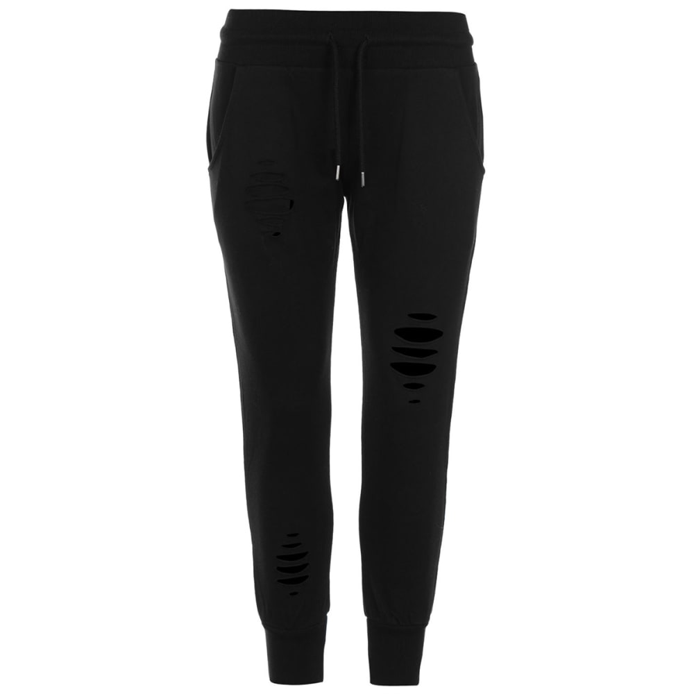 FIRETRAP Women's Distressed Jogger Pants - BLACK