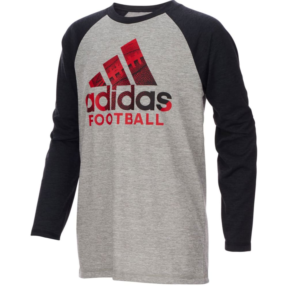 ADIDAS Big Boys' Performance Logo Raglan Long-Sleeve Tee - MGH W/BLACK AH33