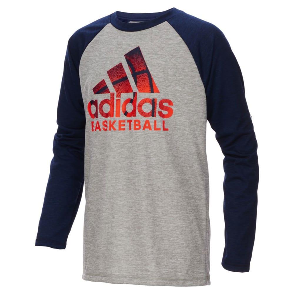 ADIDAS Big Boys' Performance Logo Raglan Long-Sleeve Tee S