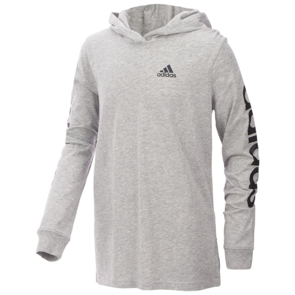 ADIDAS Big Boys' Branded Sleeve Pullover Hoodie - MED GRY-AH66