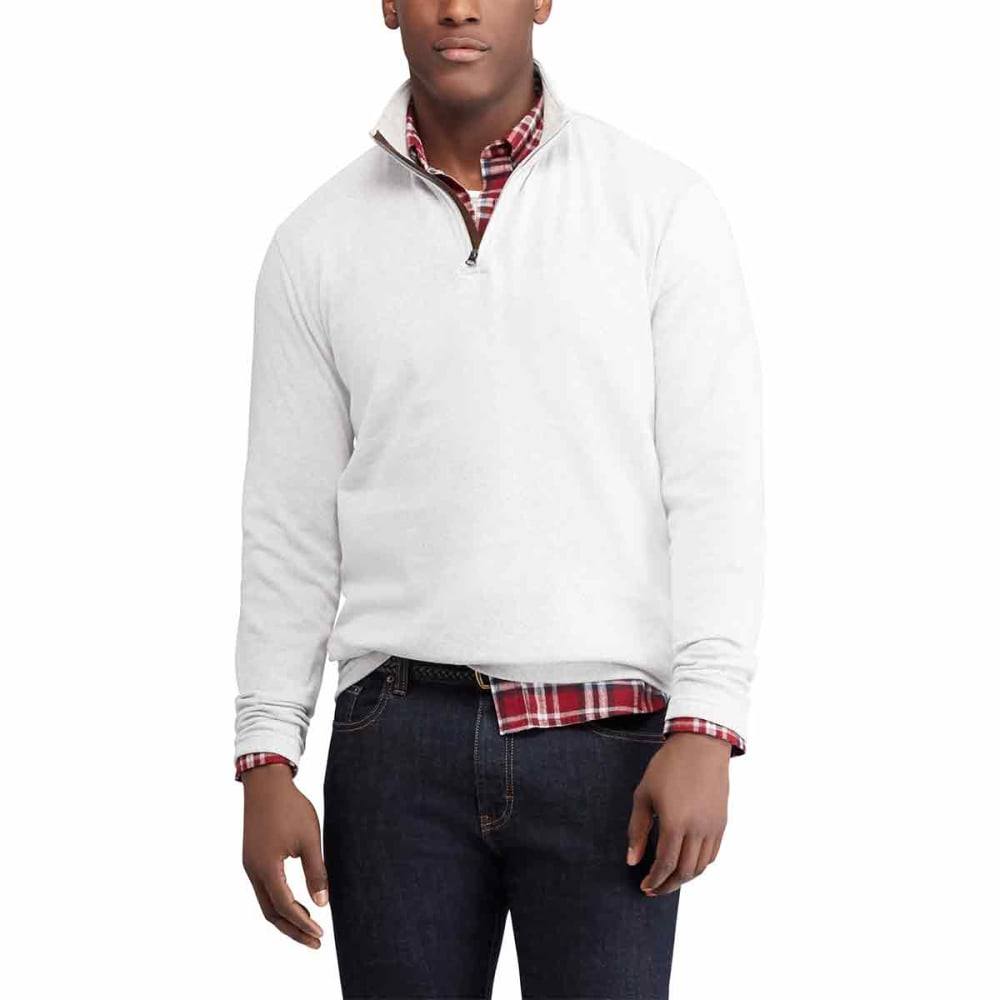 CHAPS Men's Double-Knit Twill 1/4 Zip Pullover - GREYASH-005