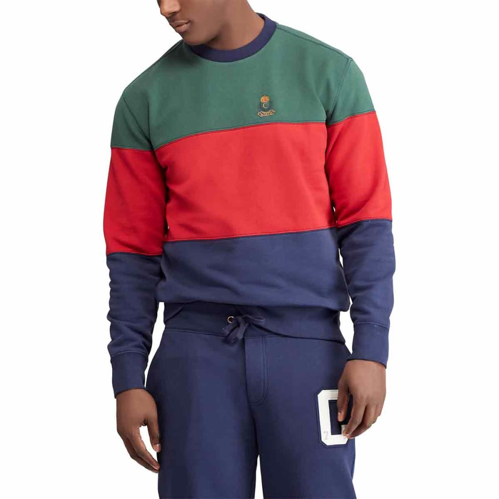 CHAPS Men's Rugby Stripe Crew Long-Sleeve Shirt - VINTAGEPINE-001