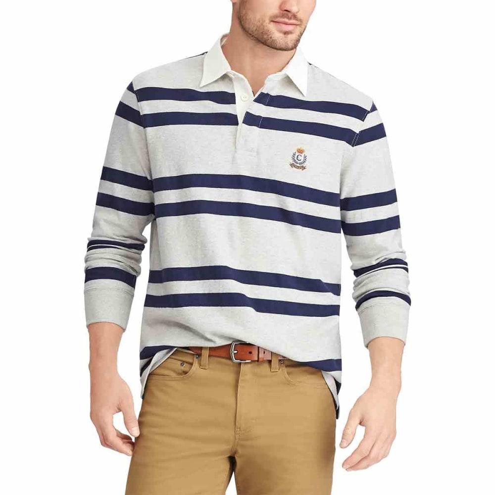 CHAPS Men's Striped Collar Long-Sleeve Rugby Shirt - LIGHTGREY-002