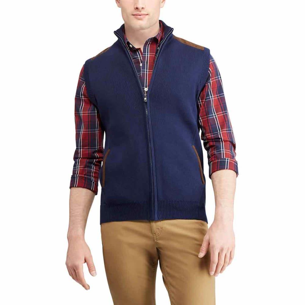 CHAPS Men's Sweater Vest with Faux Suede Trim - NEWPORTNAVY-001