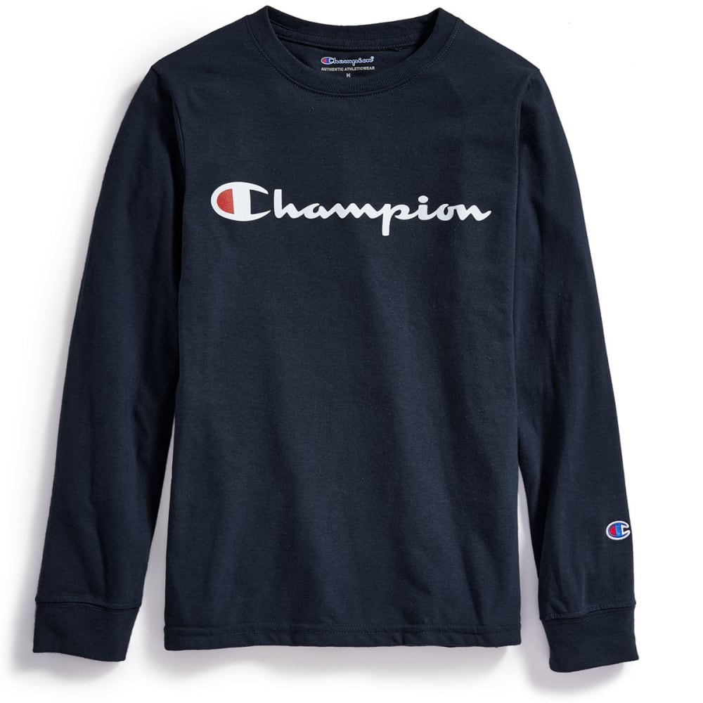 CHAMPION Big Boys' Heritage Logo Long-Sleeve Tee - NAVY