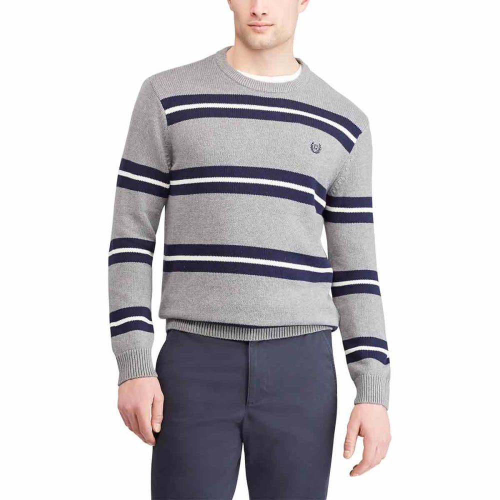CHAPS Men's Cotton Crewneck Striped Long-Sleeve Sweater - STEELHEATHER-002