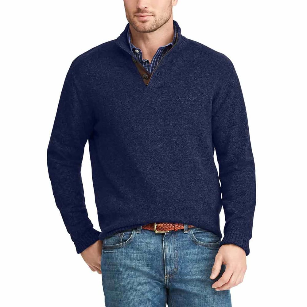 CHAPS Men's Mock Neck Pullover Sweater with Elbow Patches M