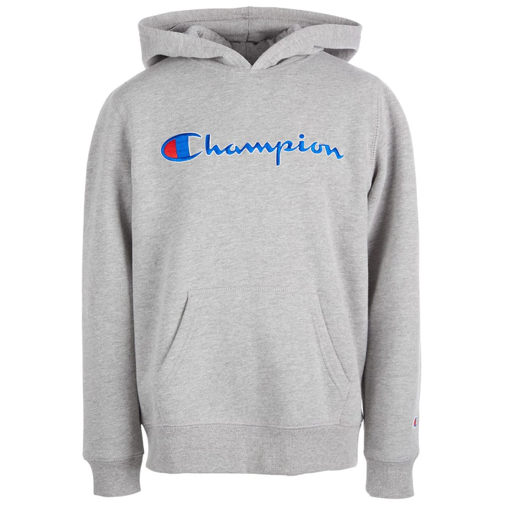 CHAMPION Big Girls' Heritage Script Logo Pullover Hoodie - OXFORD HTH