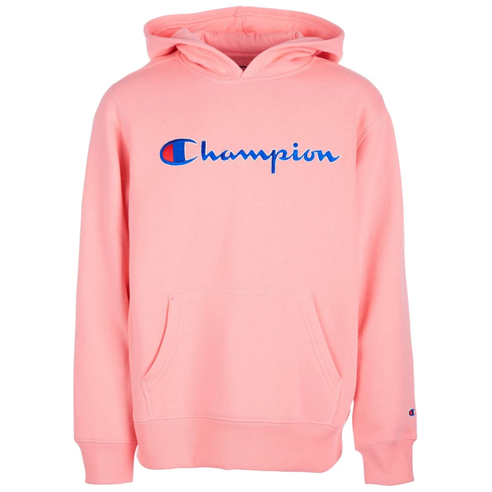 Champion Big Girls' Heritage Script Logo Pullover Hoodie - Red, S