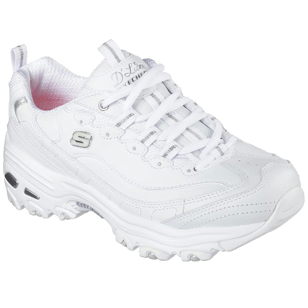 SKECHERS Women's D'Lites - Fresh Start Sneakers, Wide - WHITE-WSL
